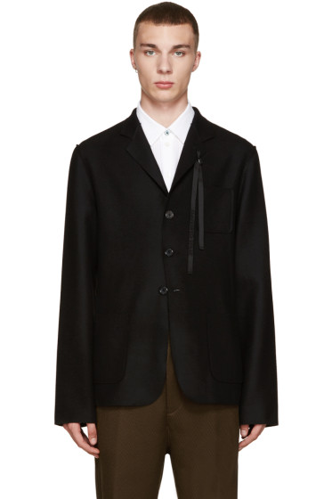 Ann Demeulemeester - Black Beaded Ribbon Blazer