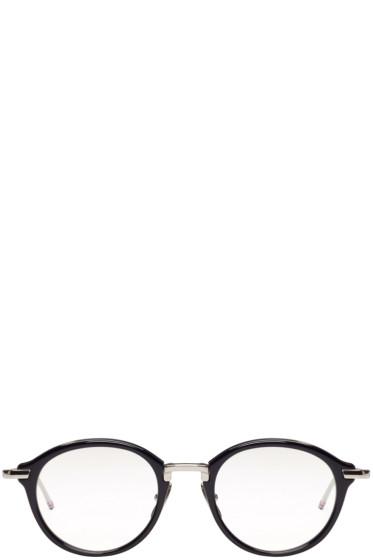 Thom Browne - Navy & Silver Acetate Glasses