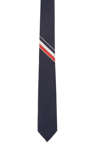 Thom Browne - Navy & Tricolor Striped Classic Tie
