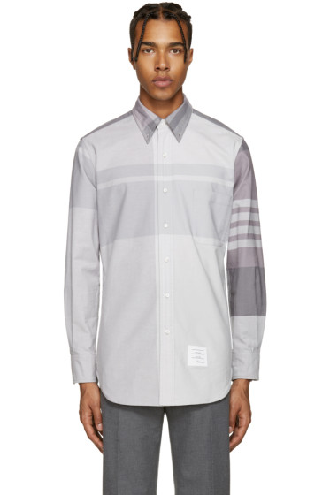 Thom Browne - Grey Classic Oversized Plaid Shirt