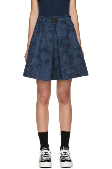 Kenzo - Navy Floral Jacquard Skirt