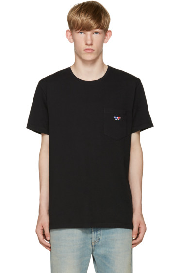 Maison Kitsuné - Black Embroidered Pocket T-Shirt