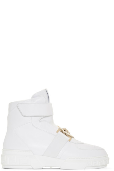 Versace - White Leather High-Top Sneakers
