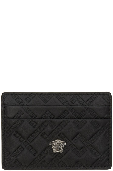 Versace - Black Greek Key Card Holder