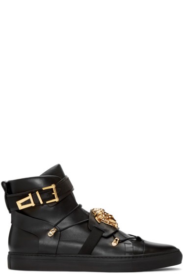 Versace - Black Medusa Strap High-Top Sneakers