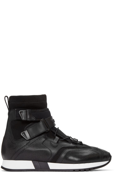 Versace - Black Leather & Neoprene High-Top Sneakers