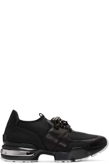 Versace - Black Neoprene & Leather Medusa Sneakers