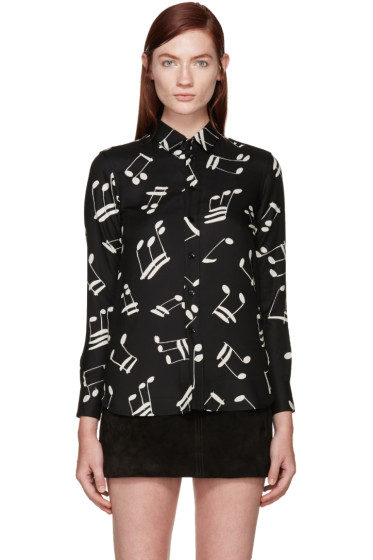 Saint Laurent - Black & White Music Notes Shirt