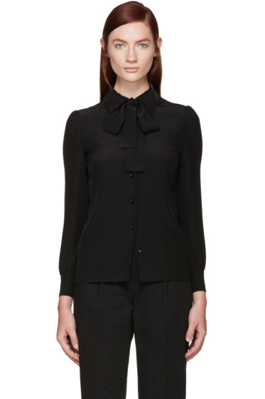 Saint Laurent - Black Silk Bow Shirt