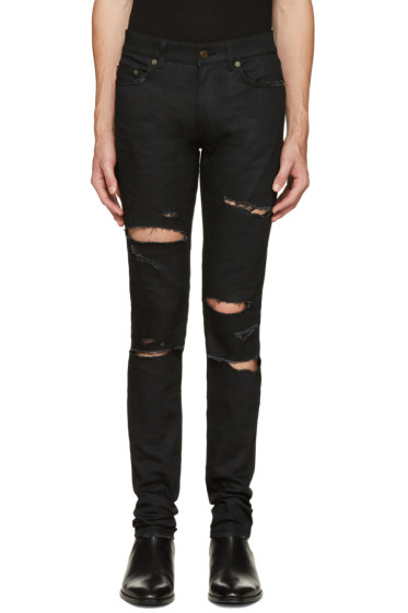 Saint Laurent - Black Original Low Waisted Destroyed Skinny Jeans