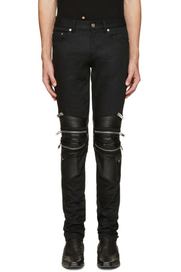 Saint Laurent - Black Signature Low Waisted Skinny Motocross Jeans