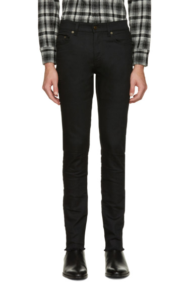 Saint Laurent - Black Original Mid Waisted Raw Edge Skinny Jeans