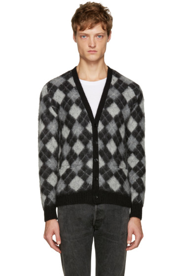 Saint Laurent - Black & White Argyle Cardigan