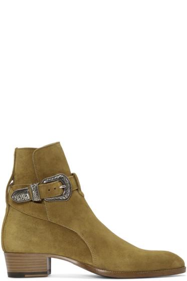 Saint Laurent - Tan Suede Western Hedi Boots