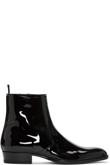 Saint Laurent - Black Patent Leather Hedi Boots