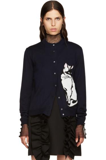 MSGM - Navy Wool Cat Cardigan