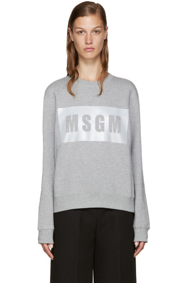 MSGM - Grey Boxed Reflector Sweatshirt