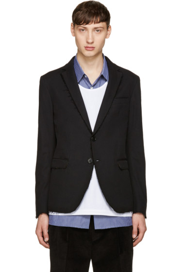 MSGM - Black Unfinished Blazer