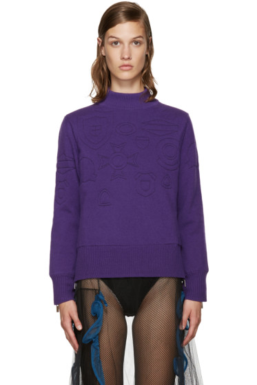 Sacai - Purple Quilted Sweater