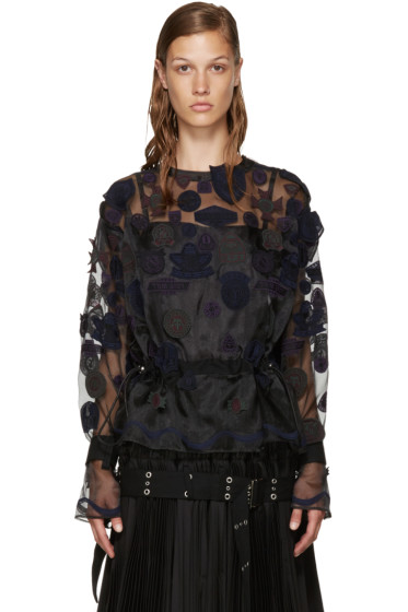 Sacai - Black Embroidery Patches Blouse