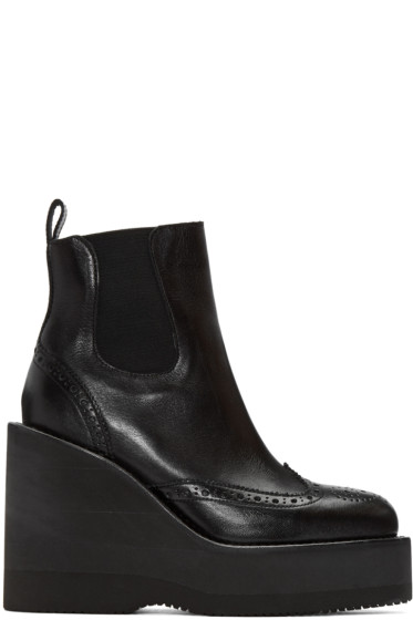 Sacai - Black Brogue Wedge Boots