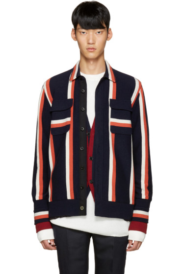Sacai - Tricolor Striped Knit Jacket