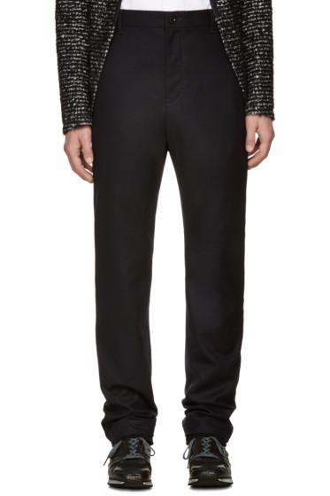 Sacai - Navy Wool Ribbed Cuff Trousers