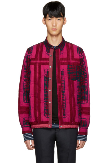 Sacai - Pink Quilted Flannel Jacket
