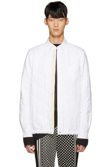 Sacai - White Quilted Flannel Jacket