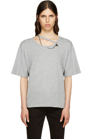 Stella McCartney - Grey Falabella Cut-Out T-Shirt