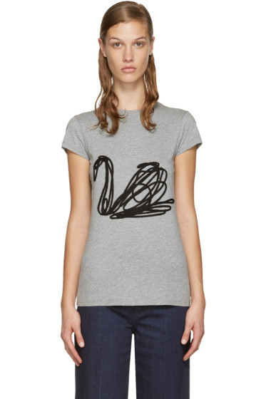Stella McCartney - Grey Embroidered Swan T-Shirt
