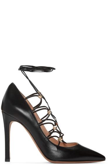 Valentino - Black Rockstud Gladiator Heels