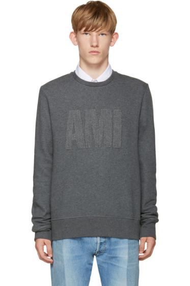 AMI Alexandre Mattiussi - Grey Terry Logo Sweatshirt