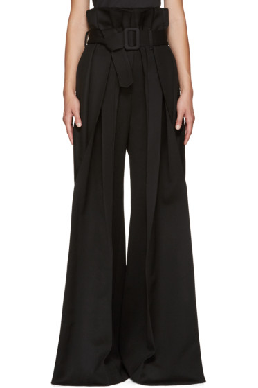 Yang Li - Black Wide-Leg Torn Trousers