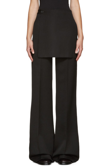 Yang Li - Black Wide-Leg Apron Trousers