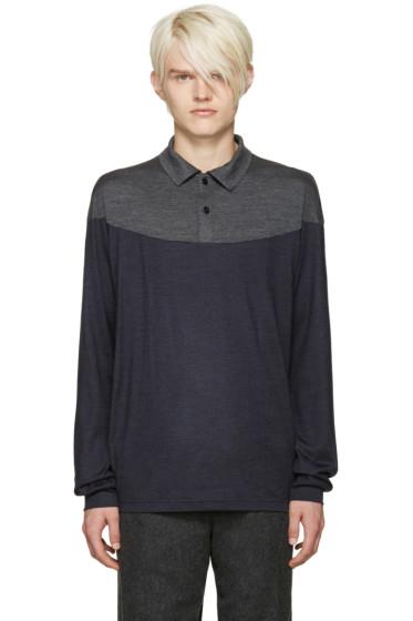 Kolor - Grey & Navy Wool Polo