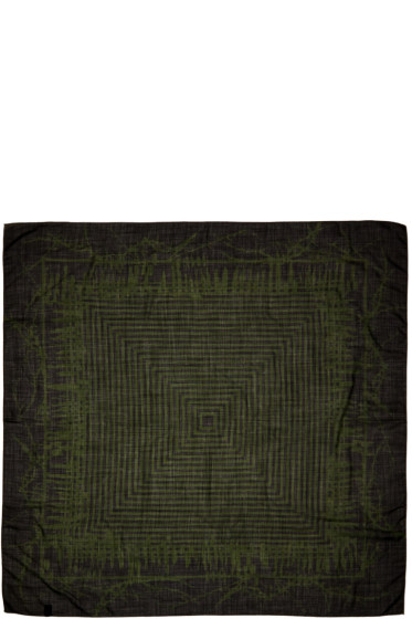Haider Ackermann - Black & Green Patterned Scarf