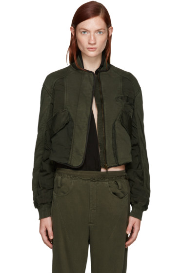 Haider Ackermann - Green Panelled Bomber Jacket