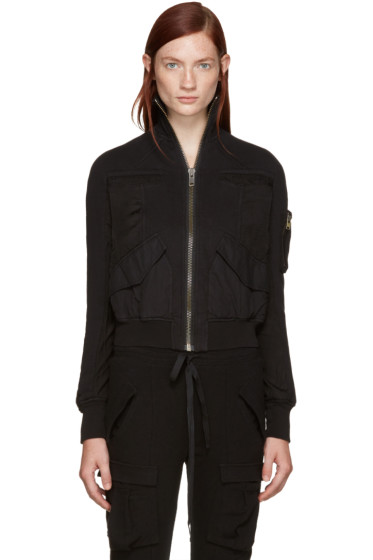 Haider Ackermann - Black Panelled Bomber Jacket