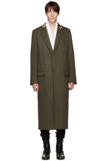 Haider Ackermann - Khaki Velvet Collar Coat