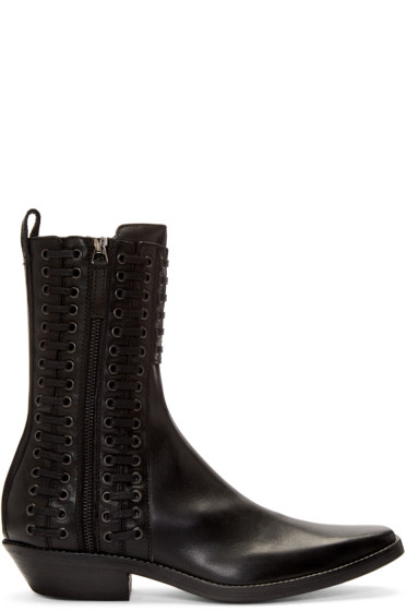 Haider Ackermann - Black Lace-Up Boots