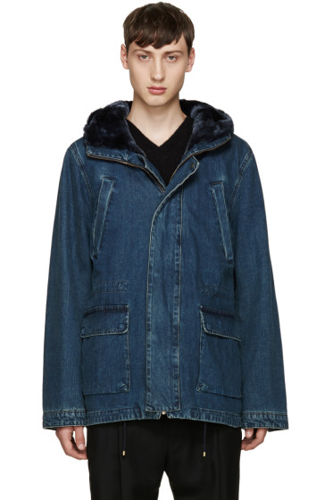 Yves Salomon - Indigo Denim Long Parka