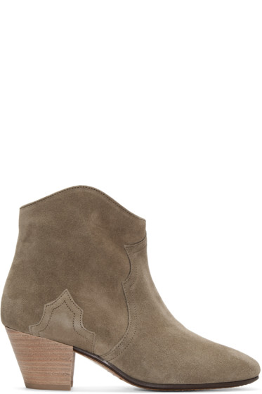 Isabel Marant - Taupe Suede Dicker Ankle Boots