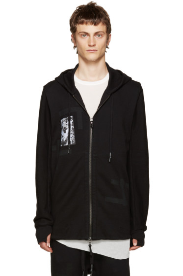 11 by Boris Bidjan Saberi - Black T Pattern Zip Hoodie