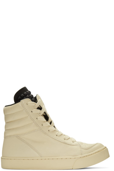 "Diet Butcher Slim Skin - Beige Twisted 'Tilt"" High-Top Sneakers"