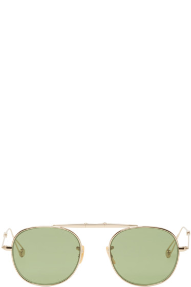 Garrett Leight - Gold Folding Van Buren Sunglasses