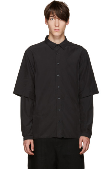 D by D - Black Embroidered Layered Shirt