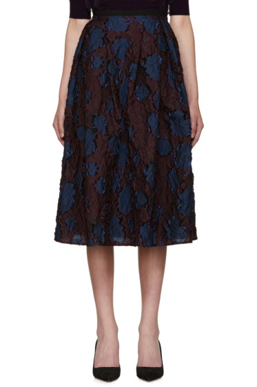Erdem - Burgundy & Navy Imari Skirt