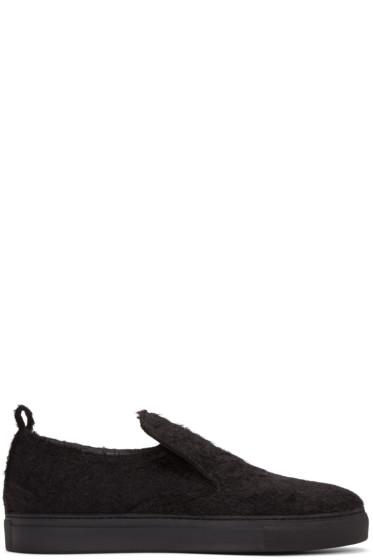 AD Ann Demeulemeester - Black Mohair Harrison Slip-On Sneakers