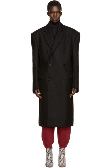 Vetements - Black Oversized Double-Breasted Coat